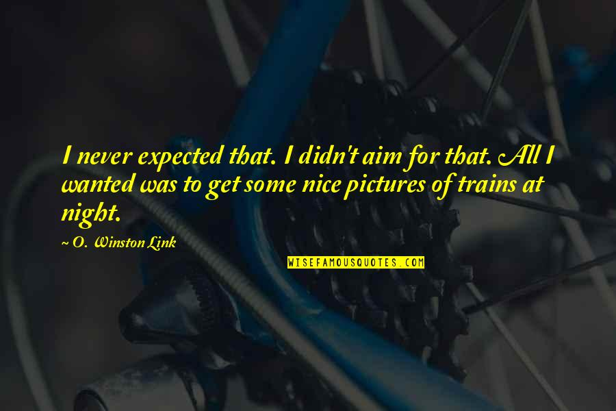 Trains Quotes By O. Winston Link: I never expected that. I didn't aim for