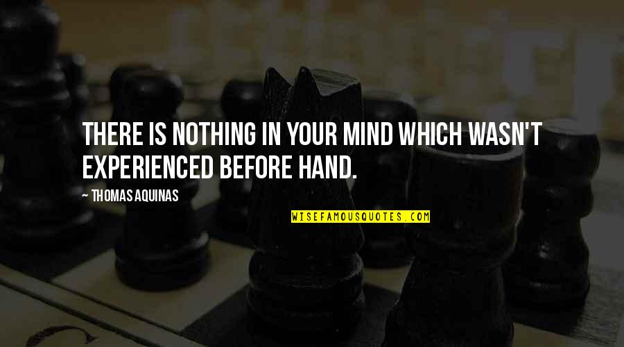 Transitoriness Quotes By Thomas Aquinas: There is nothing in your mind which wasn't