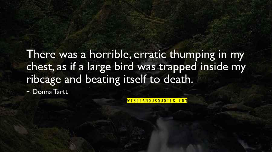 Trapped Bird Quotes By Donna Tartt: There was a horrible, erratic thumping in my