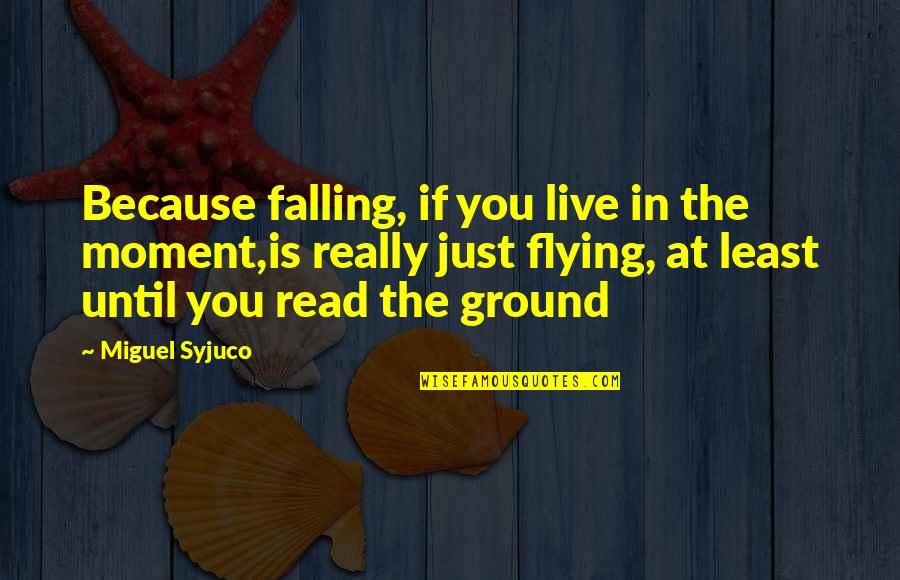 Travel Couple Love Quotes By Miguel Syjuco: Because falling, if you live in the moment,is