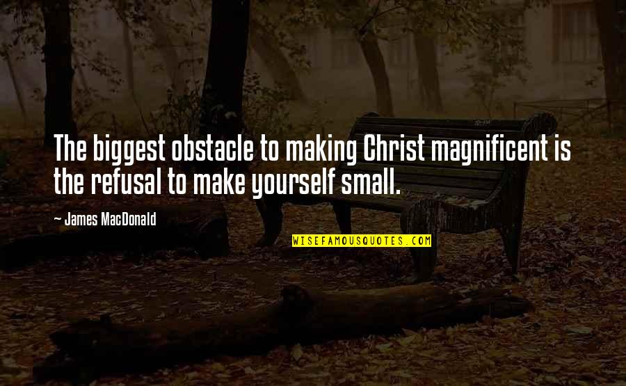Travel In Your 20s Quotes By James MacDonald: The biggest obstacle to making Christ magnificent is