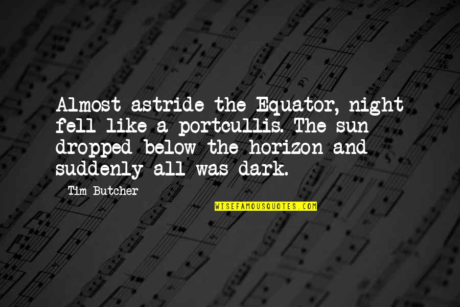 Travel Writing Quotes By Tim Butcher: Almost astride the Equator, night fell like a
