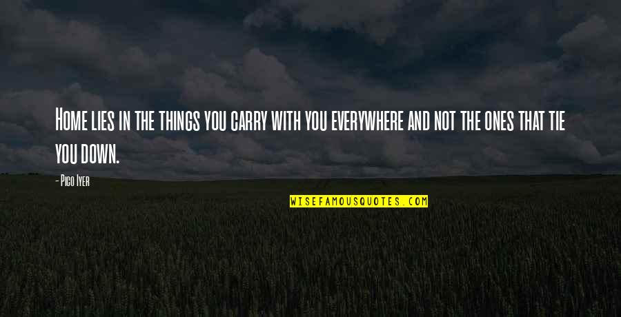 Traveling Home Quotes By Pico Iyer: Home lies in the things you carry with