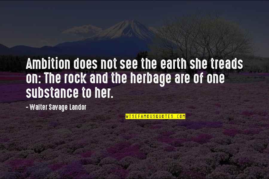 Treads Quotes By Walter Savage Landor: Ambition does not see the earth she treads