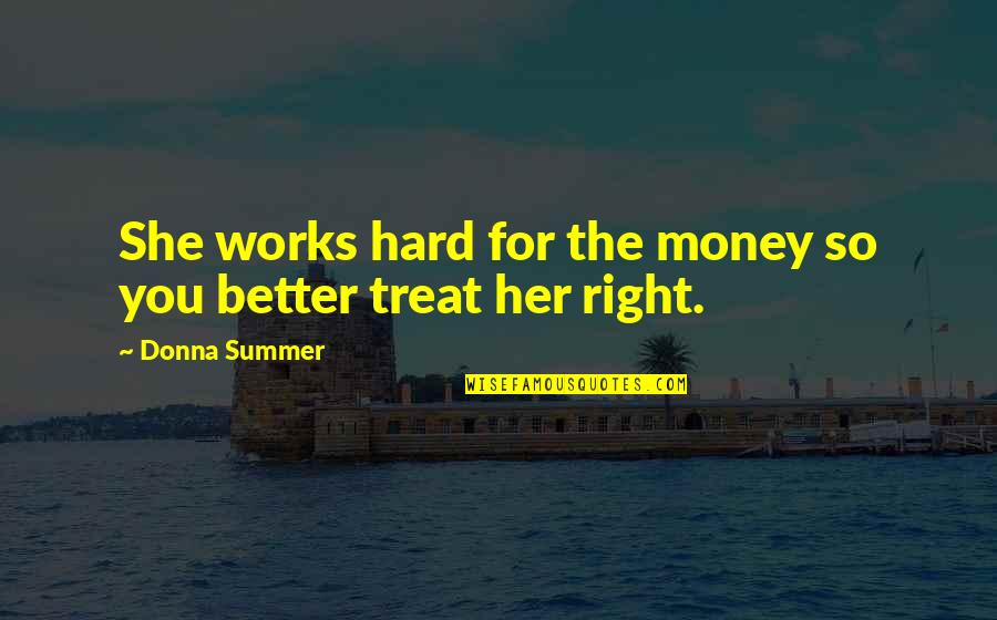 Treat Yourself Quotes By Donna Summer: She works hard for the money so you