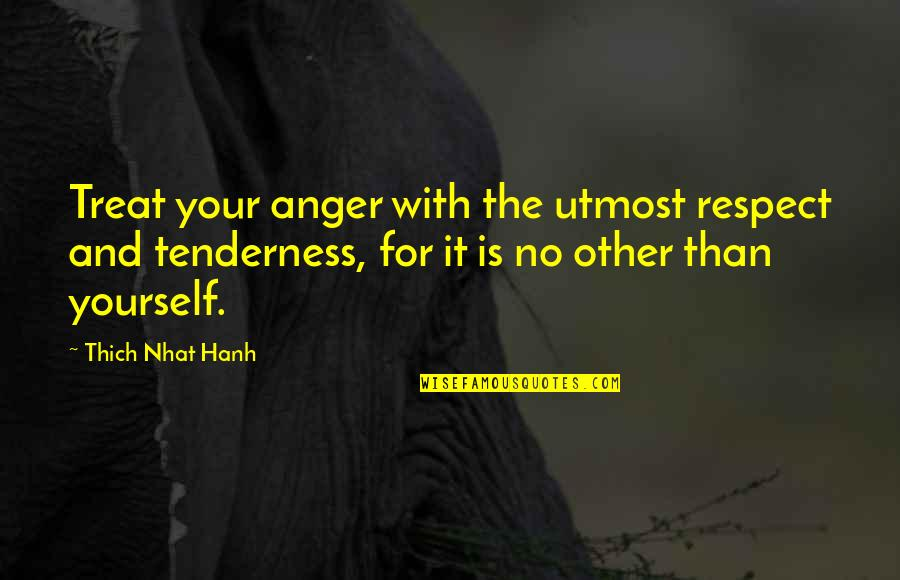 Treat Yourself Quotes By Thich Nhat Hanh: Treat your anger with the utmost respect and