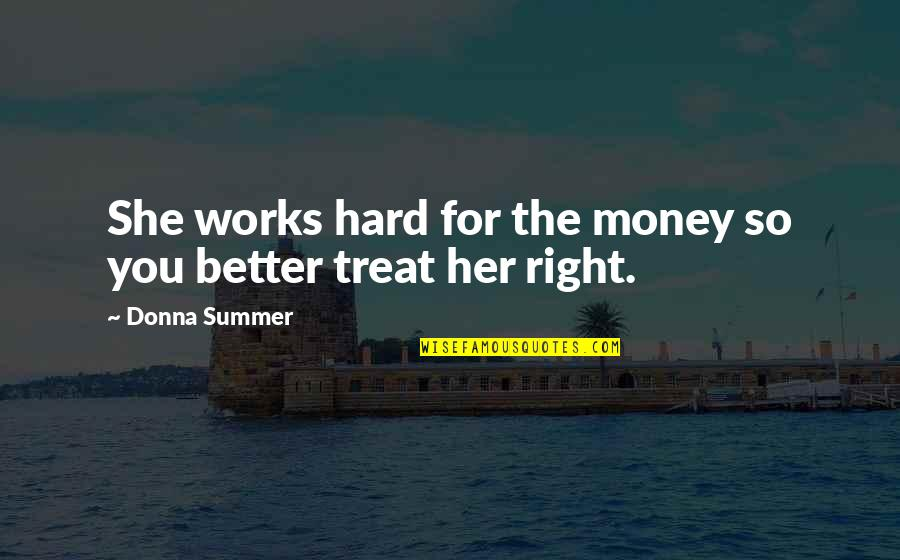 Treats You Right Quotes By Donna Summer: She works hard for the money so you