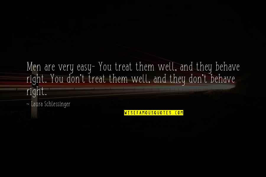 Treats You Right Quotes By Laura Schlessinger: Men are very easy- You treat them well,