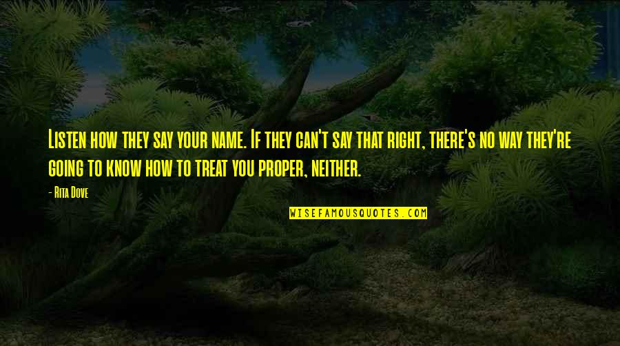Treats You Right Quotes By Rita Dove: Listen how they say your name. If they