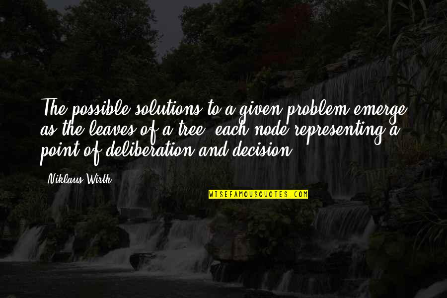 Tree And Leaves Quotes By Niklaus Wirth: The possible solutions to a given problem emerge