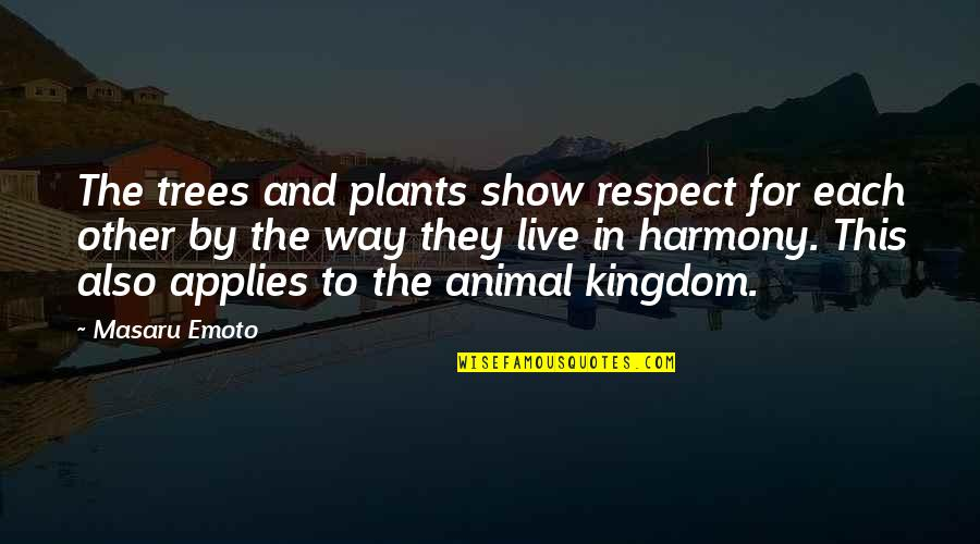 Trees And Plants Quotes By Masaru Emoto: The trees and plants show respect for each