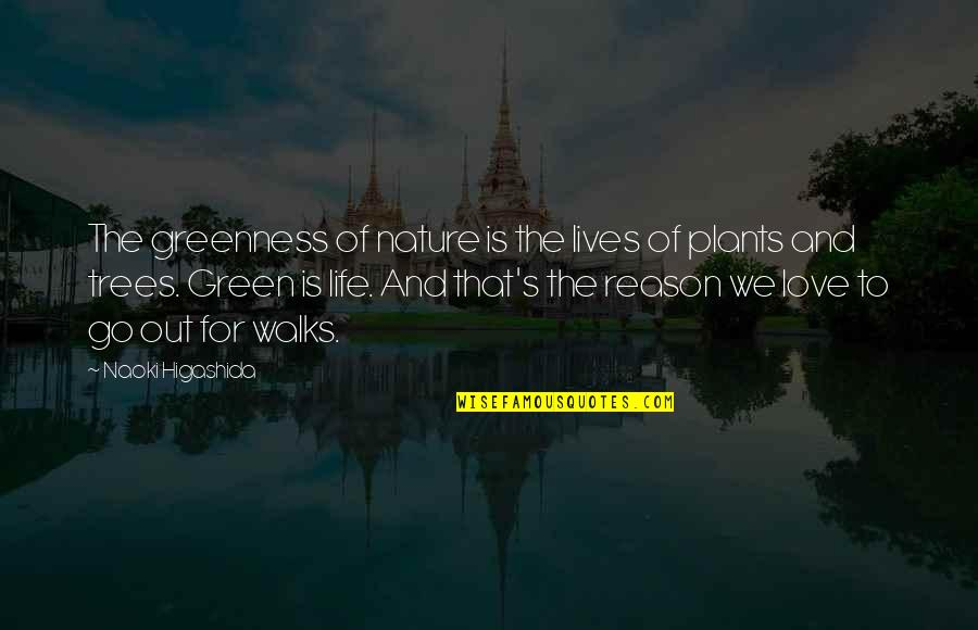 Trees And Plants Quotes By Naoki Higashida: The greenness of nature is the lives of