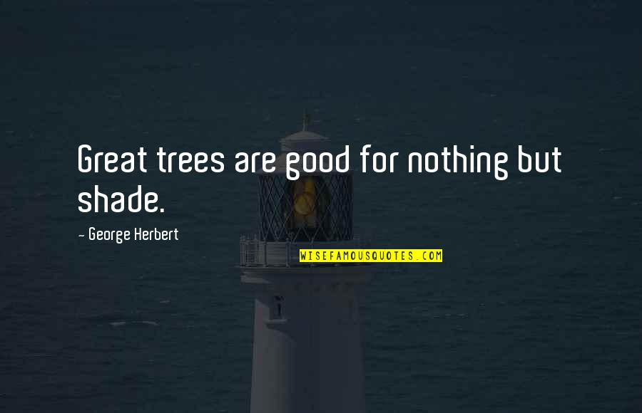 Trees And Shade Quotes By George Herbert: Great trees are good for nothing but shade.