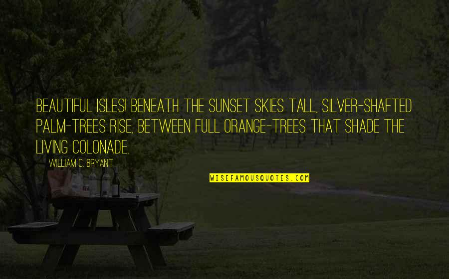 Trees And Shade Quotes By William C. Bryant: Beautiful isles! beneath the sunset skies tall, silver-shafted