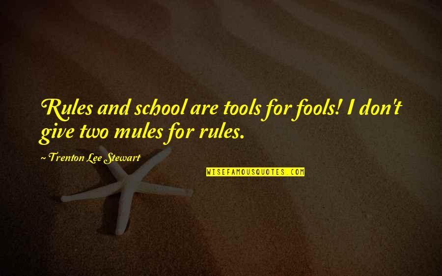Trenton Quotes By Trenton Lee Stewart: Rules and school are tools for fools! I