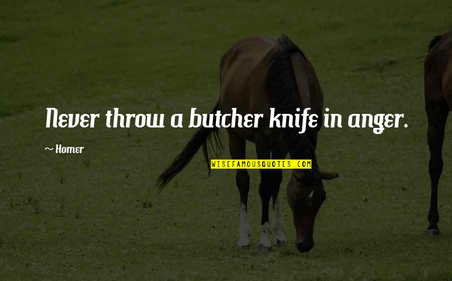 Triassic Quotes By Homer: Never throw a butcher knife in anger.