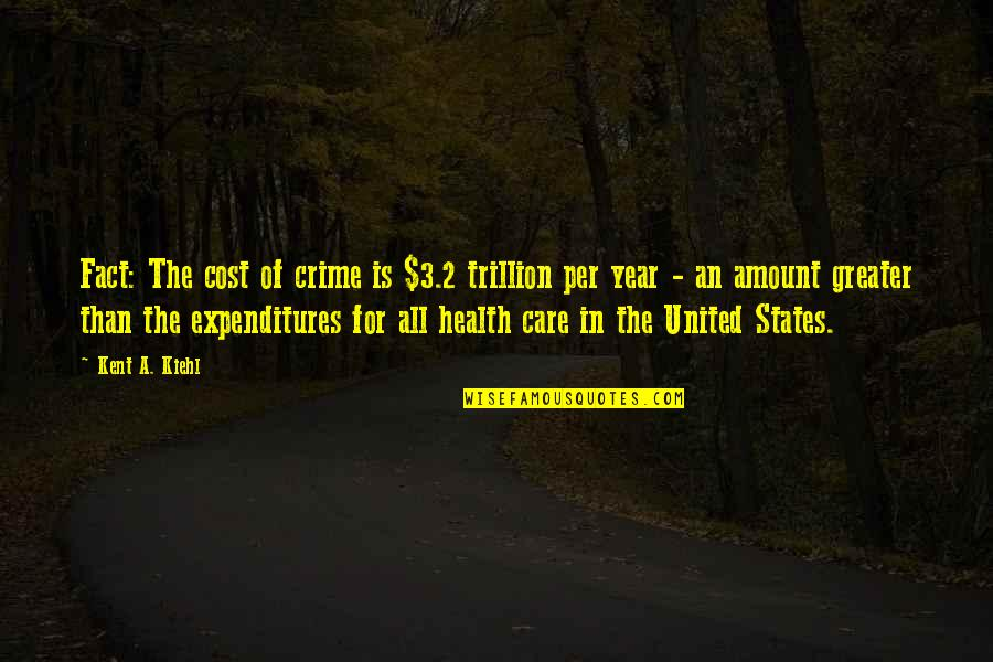 Trillion Quotes By Kent A. Kiehl: Fact: The cost of crime is $3.2 trillion