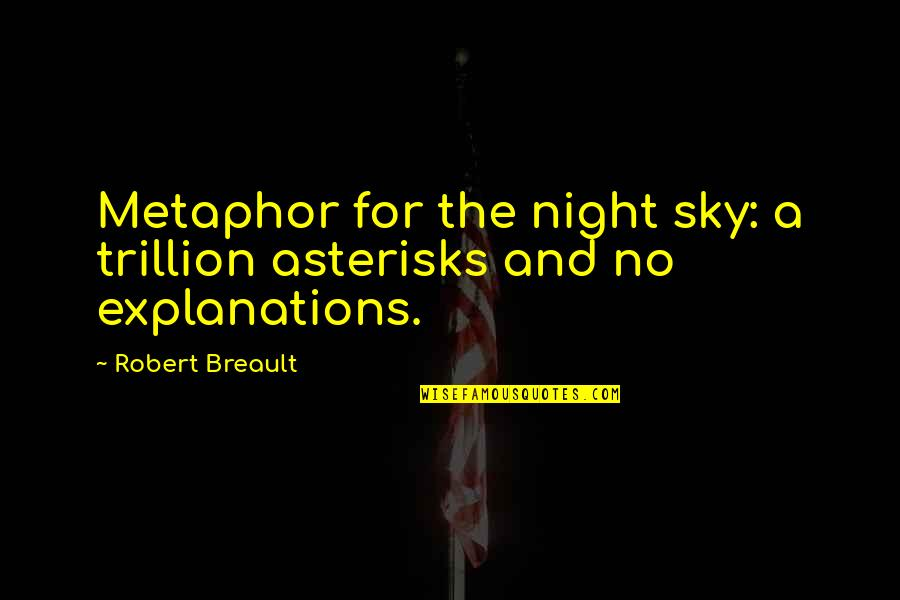Trillion Quotes By Robert Breault: Metaphor for the night sky: a trillion asterisks