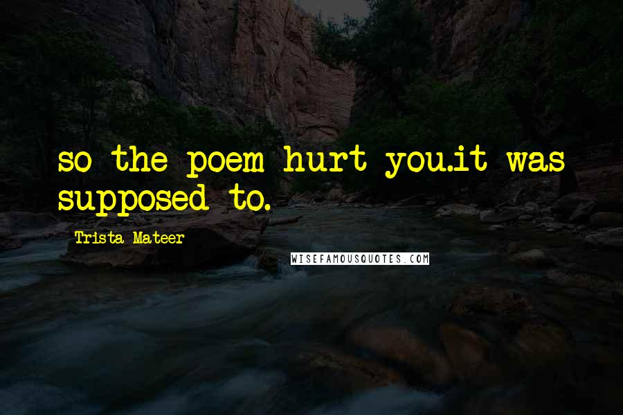 Trista Mateer quotes: so the poem hurt you.it was supposed to.