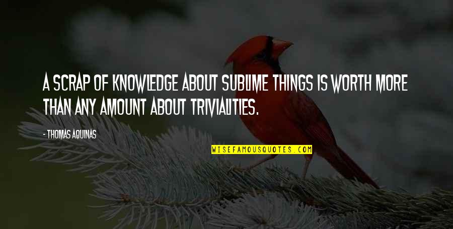 Trivialities Quotes By Thomas Aquinas: A scrap of knowledge about sublime things is