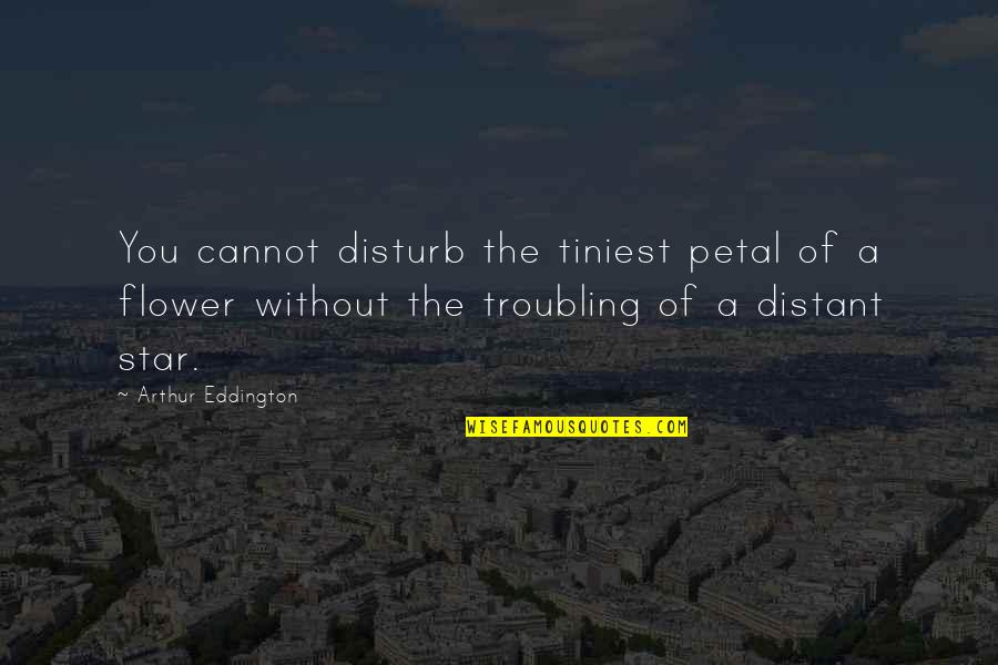 Troubling Quotes By Arthur Eddington: You cannot disturb the tiniest petal of a