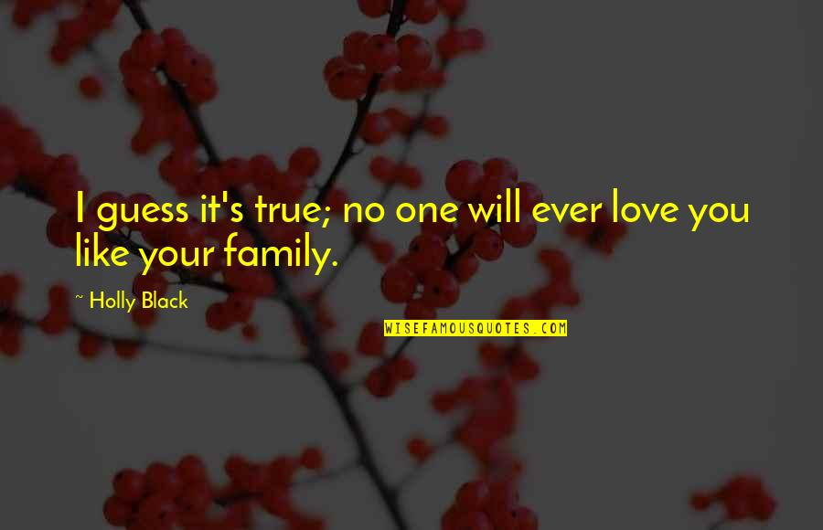 True Family Quotes By Holly Black: I guess it's true; no one will ever