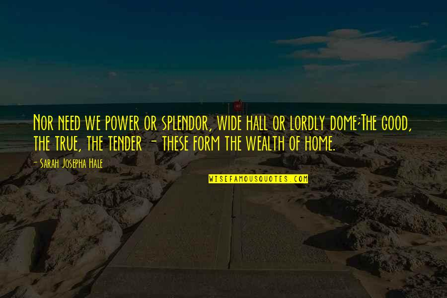 True Family Quotes By Sarah Josepha Hale: Nor need we power or splendor, wide hall