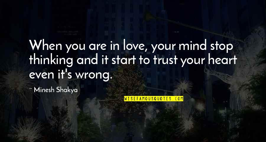 True Friends Never Hurt You Quotes By Minesh Shakya: When you are in love, your mind stop