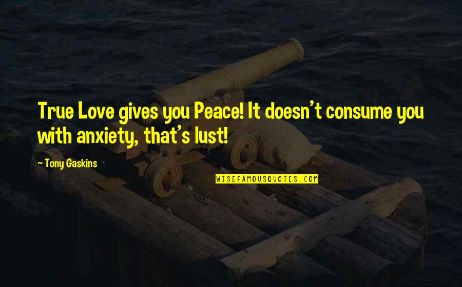 True Love Not Lust Quotes By Tony Gaskins: True Love gives you Peace! It doesn't consume