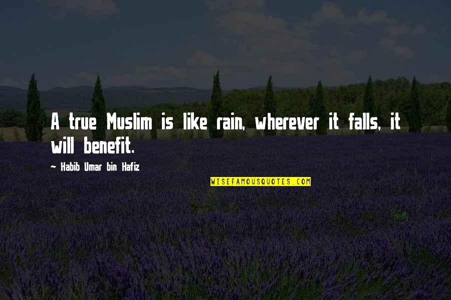 True Muslim Quotes By Habib Umar Bin Hafiz: A true Muslim is like rain, wherever it