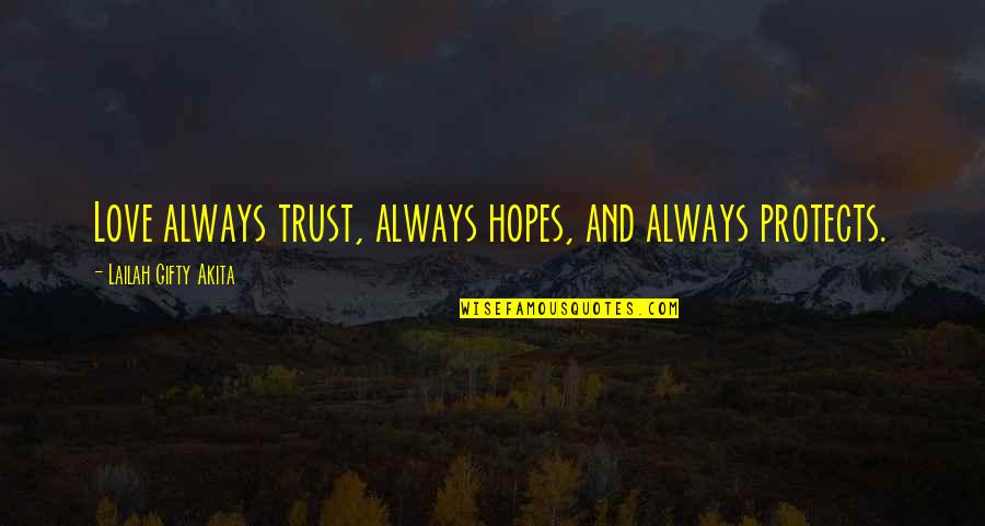 Trust In A Relationship Quotes By Lailah Gifty Akita: Love always trust, always hopes, and always protects.