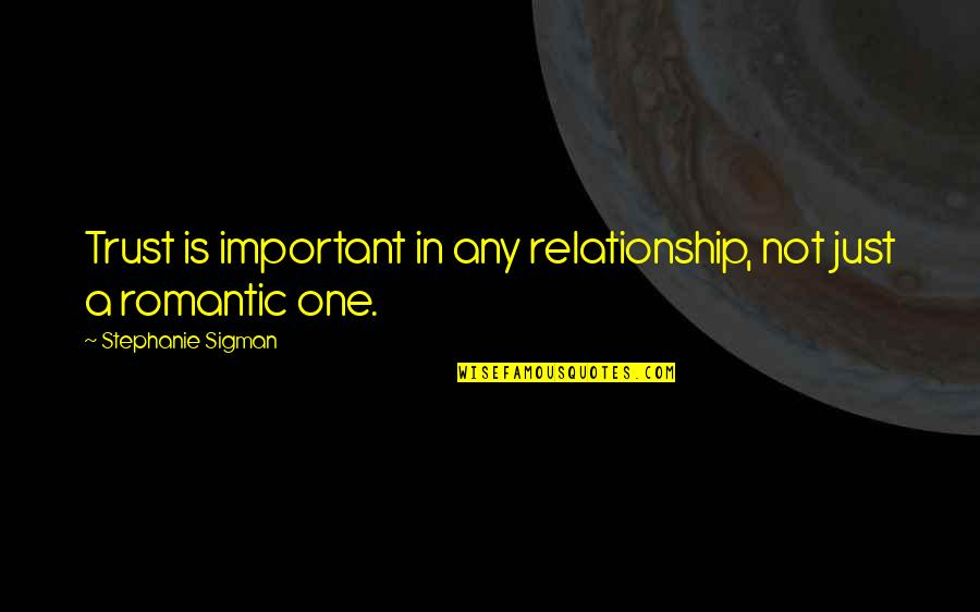 Trust In A Relationship Quotes By Stephanie Sigman: Trust is important in any relationship, not just