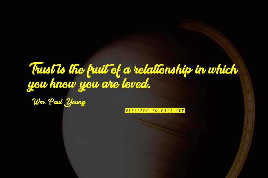 Trust In A Relationship Quotes By Wm. Paul Young: Trust is the fruit of a relationship in
