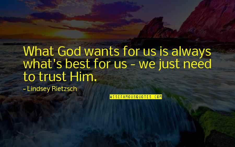 Trust In God's Plan Quotes By Lindsey Rietzsch: What God wants for us is always what's