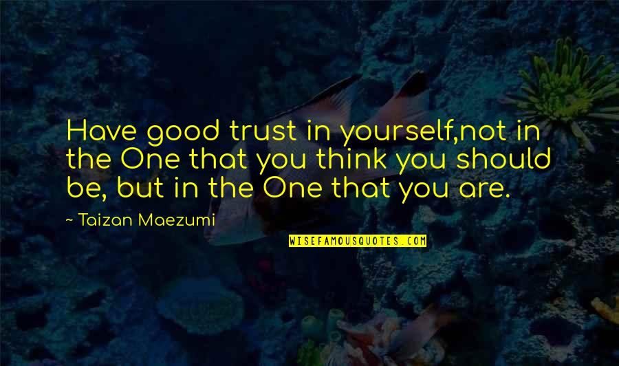 Trust In Yourself Quotes By Taizan Maezumi: Have good trust in yourself,not in the One