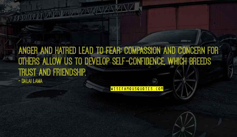Trust Self Quotes By Dalai Lama: Anger and hatred lead to fear; compassion and