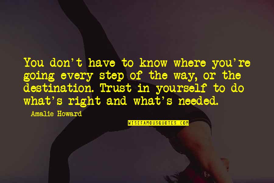 Trust You Quotes By Amalie Howard: You don't have to know where you're going