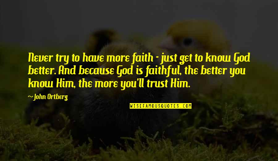 Trust You Quotes By John Ortberg: Never try to have more faith - just