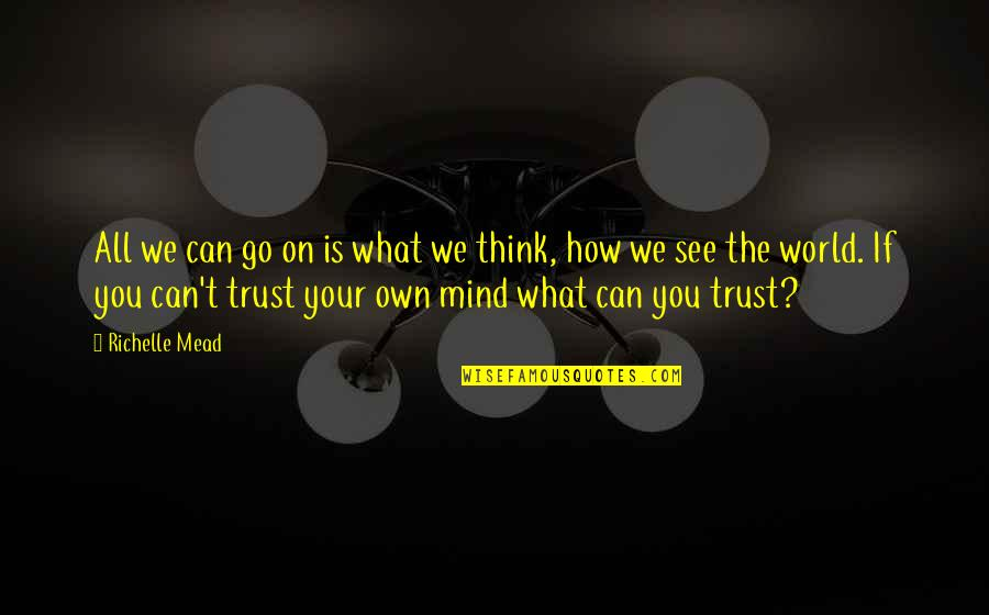 Trust You Quotes By Richelle Mead: All we can go on is what we