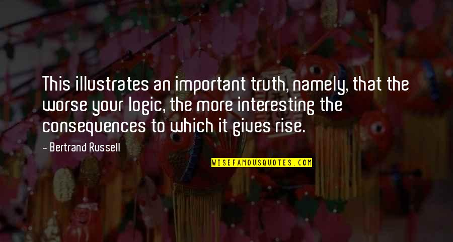 Truth Or Consequences Quotes By Bertrand Russell: This illustrates an important truth, namely, that the
