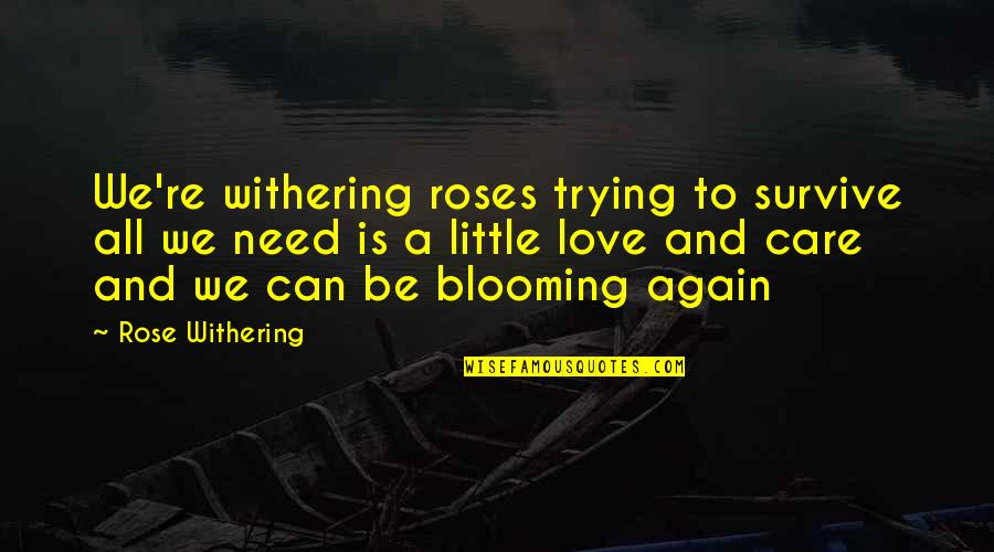 Trying Again In Love Quotes By Rose Withering: We're withering roses trying to survive all we