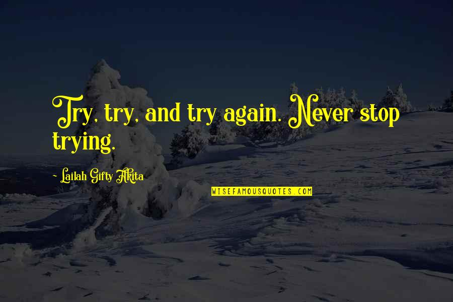 Trying New Things Quotes By Lailah Gifty Akita: Try, try, and try again. Never stop trying.