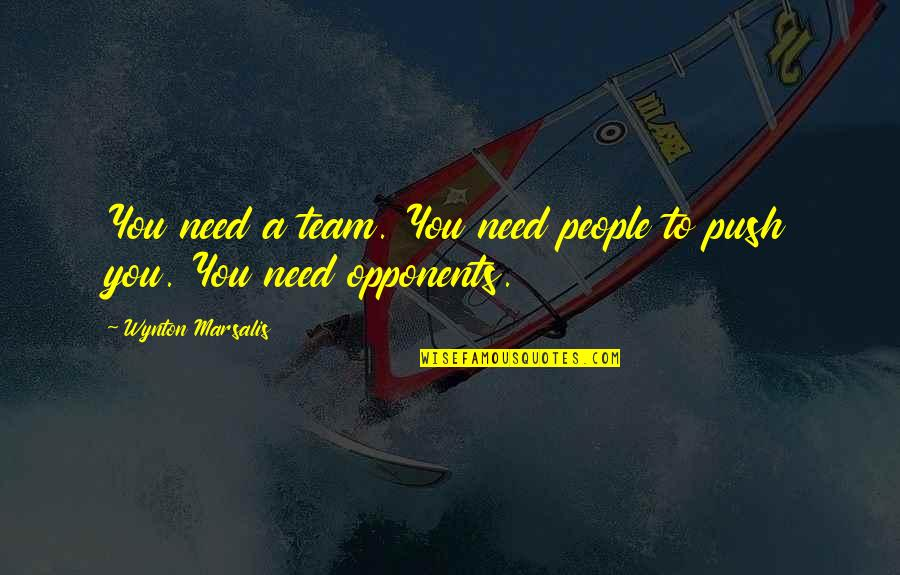Trying To Bring Someone Down Quotes By Wynton Marsalis: You need a team. You need people to