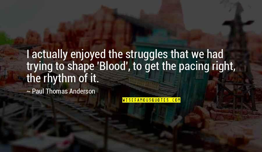 Trying To Get It Right Quotes By Paul Thomas Anderson: I actually enjoyed the struggles that we had