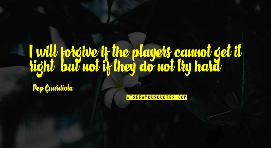 Trying To Get It Right Quotes By Pep Guardiola: I will forgive if the players cannot get