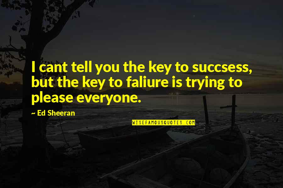 Trying To Please Everyone Quotes By Ed Sheeran: I cant tell you the key to succsess,