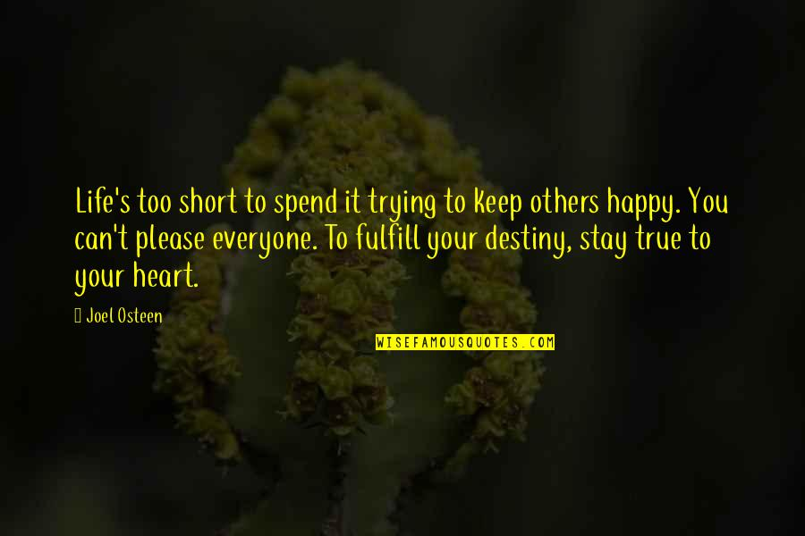 Trying To Please Everyone Quotes By Joel Osteen: Life's too short to spend it trying to