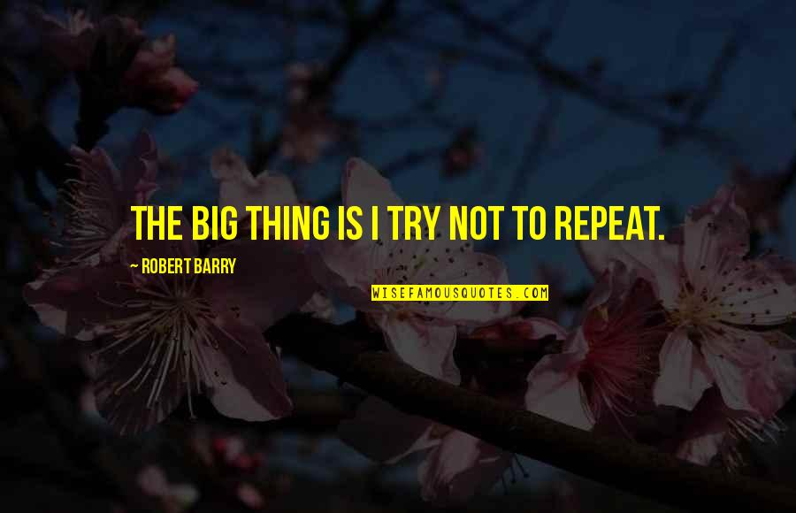 Trying To Quotes By Robert Barry: The big thing is I try not to