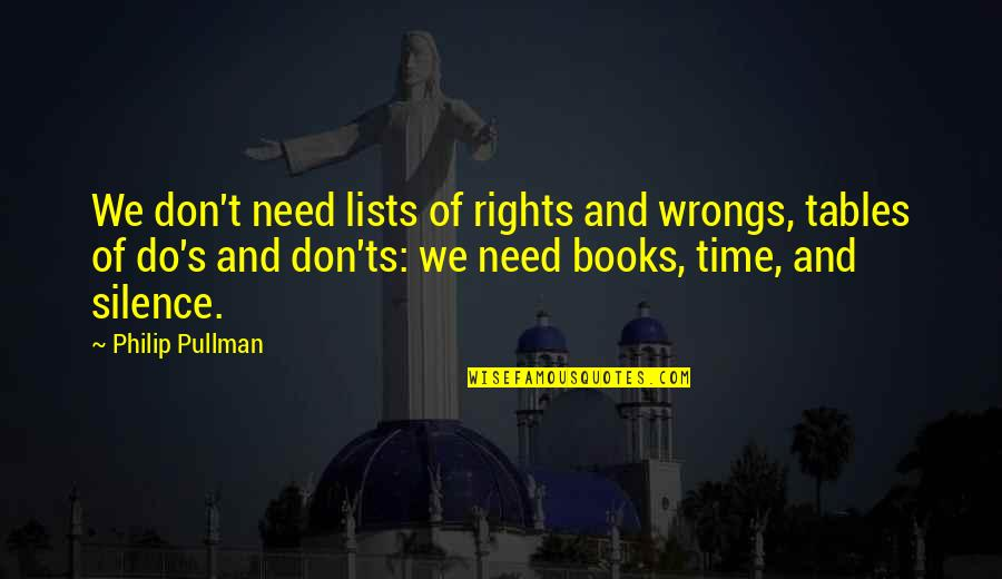 Ts'an Quotes By Philip Pullman: We don't need lists of rights and wrongs,