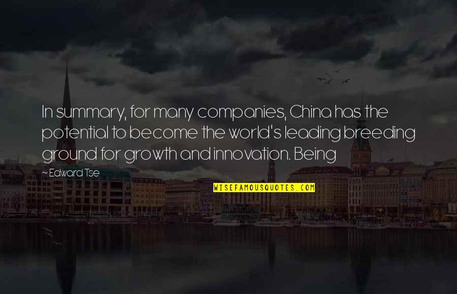 Tse Quotes By Edward Tse: In summary, for many companies, China has the